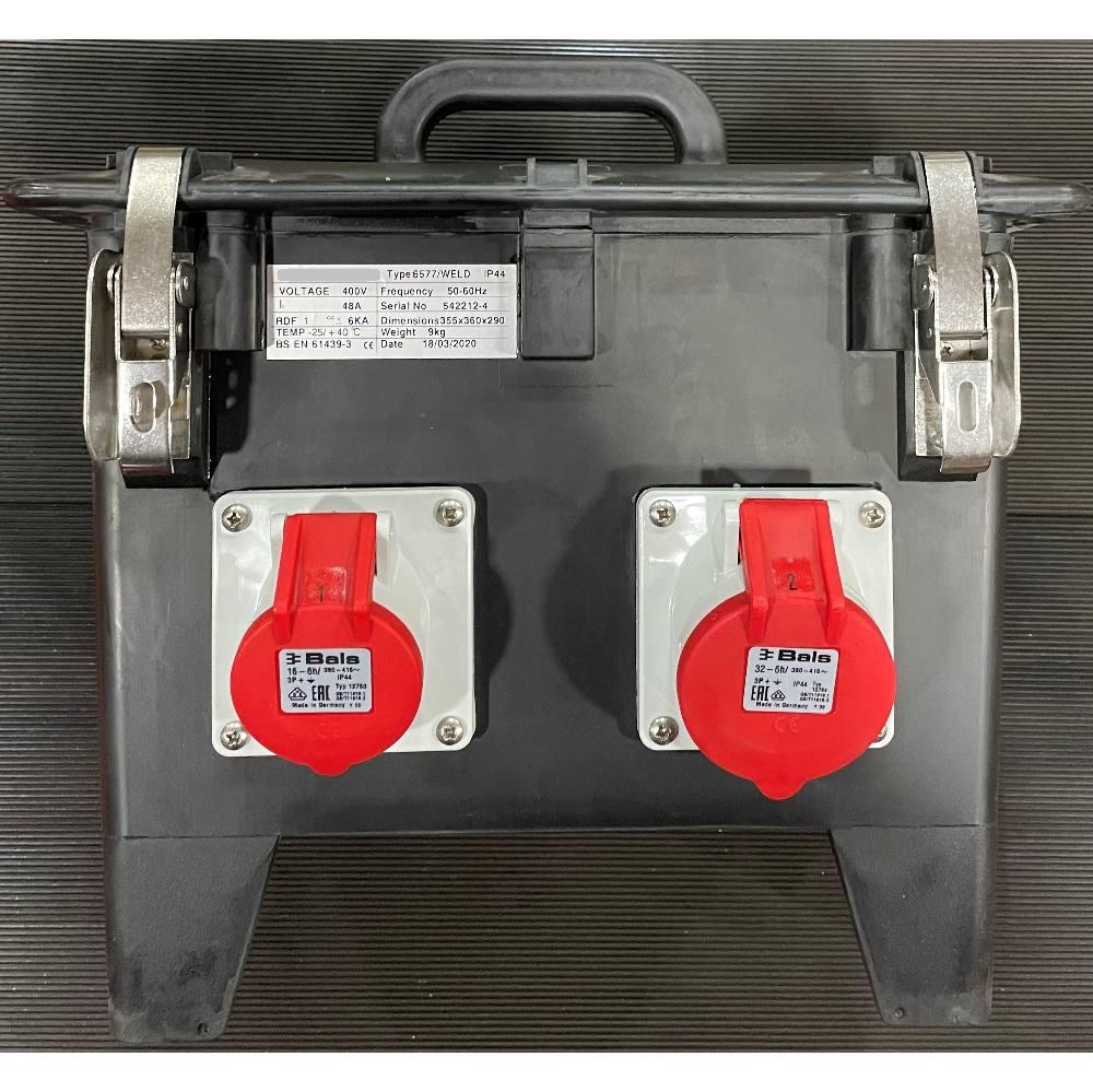 Black RCD Box 1/16A 4Pin Socket, 1/32A 4Pin Socket
