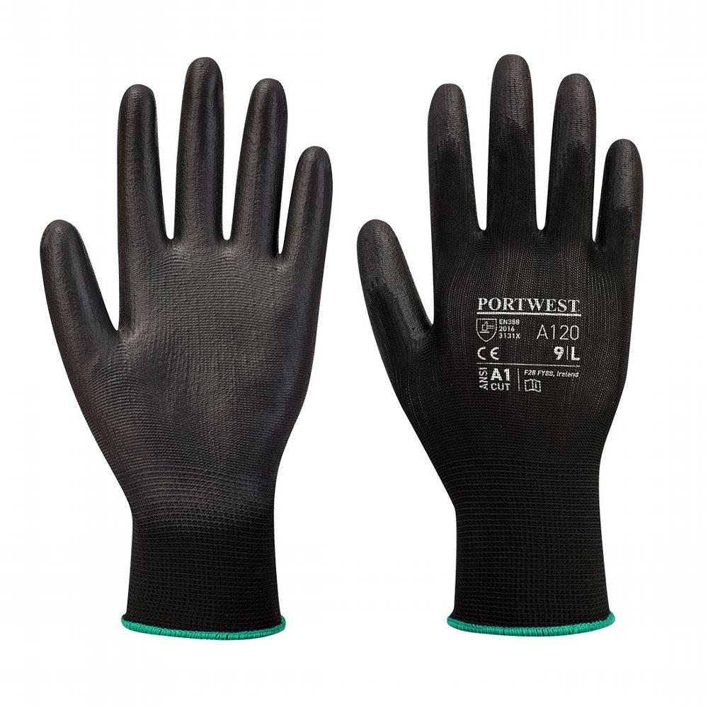 Gloves PU Palm Dipped Black XL (Portwest)