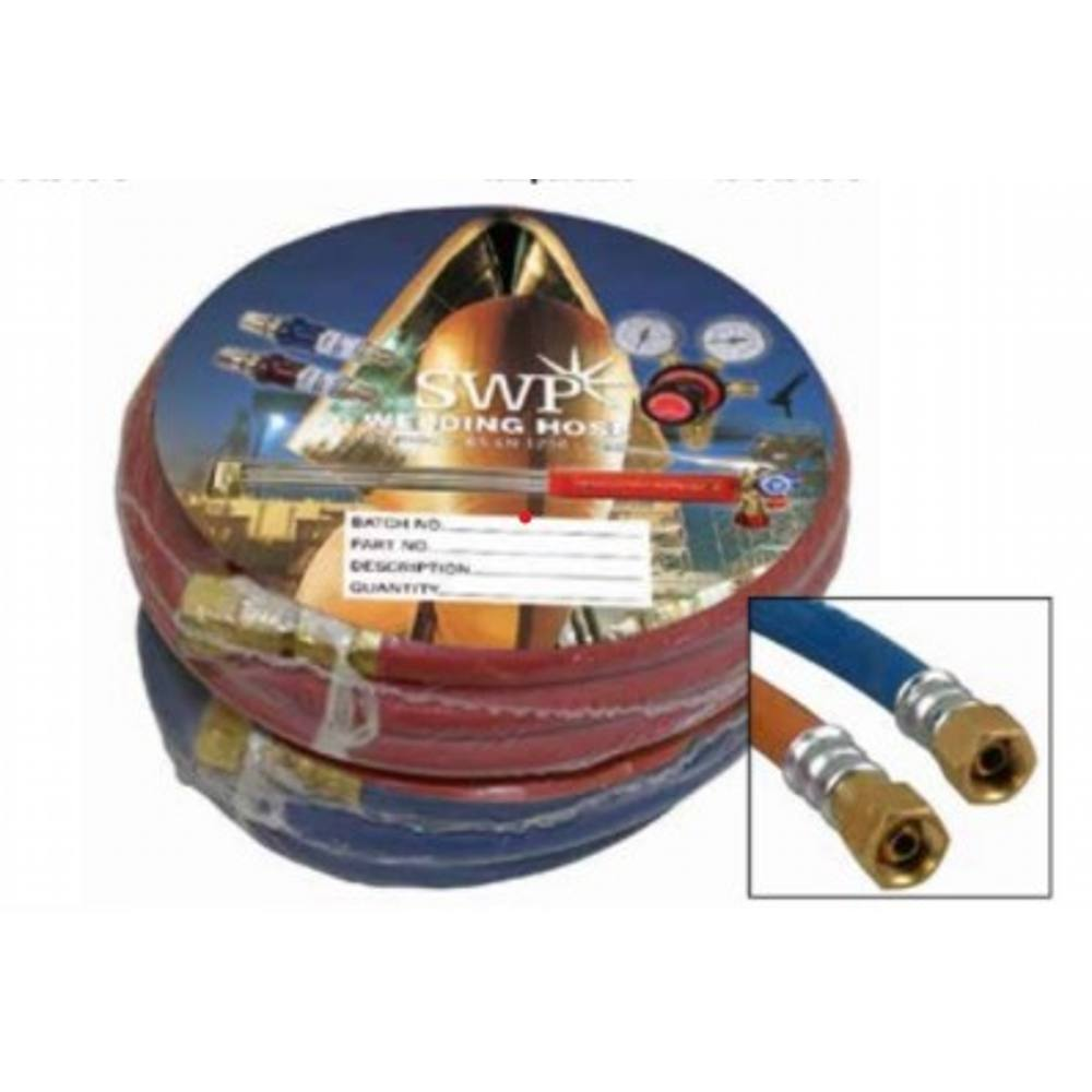 """Fitted Hose Acetylene 3/8"""" x 5m c/w 3/8"""" Fittings"""