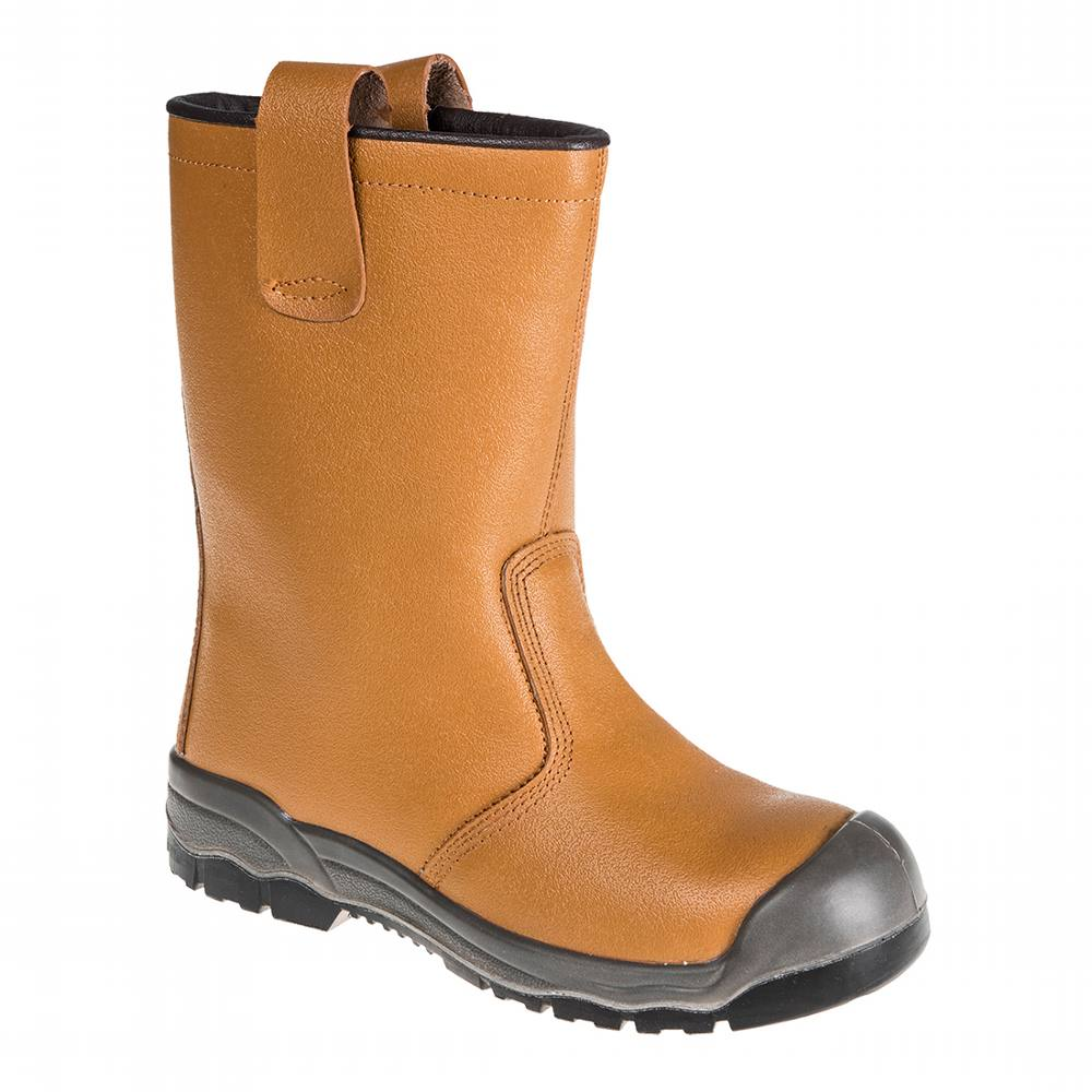 Safety Boots Portwest Lined Rigger Tan Size 7